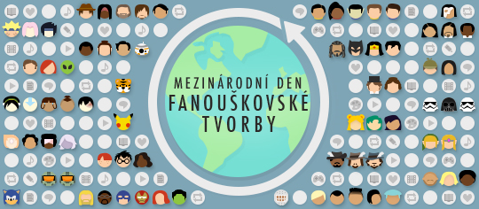 Oslavy Mezinárodního dne fanouškovské tvorby, obsahující emoji s tematikou fandomu a ukázky fanouškovských prací z celého světa