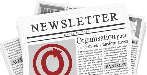 Bannière réalisée par caitie. Elle représente un journal avec les noms et logos de l'OTW et de ses projets sur ses pages.