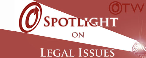 Banner by Erin of a spotlight shining the OTW logo behind the text spotlight on legal issues