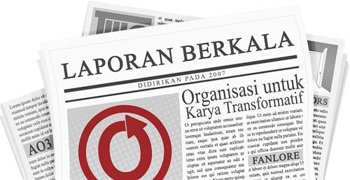 Spanduk sebuah koran dengan nama dan logo OTW serta proyek-proyeknya pada halaman yang dibuat oleh caitie.