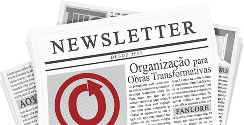 Banner feita por caitie, mostrando um jornal com os nome e as logos da OTW e de seus projetos nas páginas.