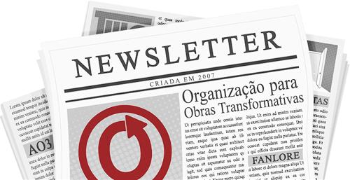 Imagem criada por caitie de um jornal com os nomes e logótipos da OTW e dos seus projetos nas páginas.